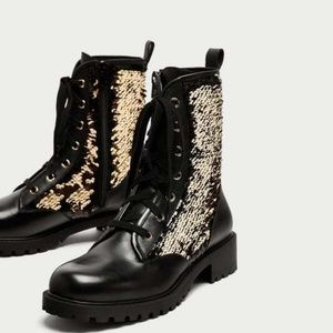 ZARA BLACK LEATHER SEQUINNED LACE-UP ANKLE BOOTS